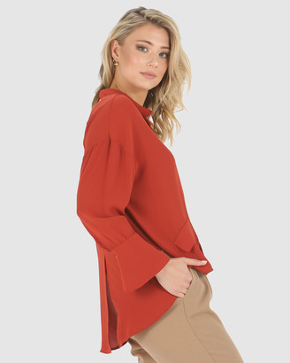 Privilege Women's Red Tops - Whitney Shirt - Size One Size, 10 at The Iconic