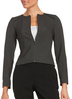 Calvin Klein Petite Faux Leather Trimmed Zip-Up Jacket