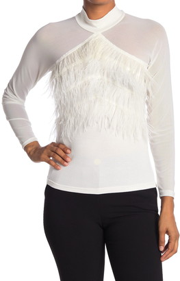 Gracia Feather Front Sheer Sleeve Blouse