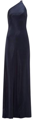 Galvan Roxy One-shoulder Satin Dress - Navy