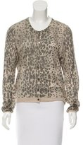 Burberry Cheetah Print Silk Cardigan