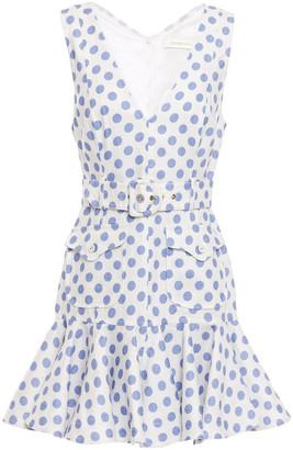 Zimmermann Ruffled Belted Polka-dot Linen Mini Dress