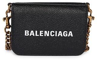 Balenciaga Mini Cash Leather Wallet-On-Chain