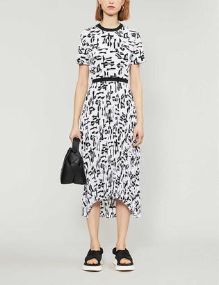 Maje Rosyla graphic pleated midi dress