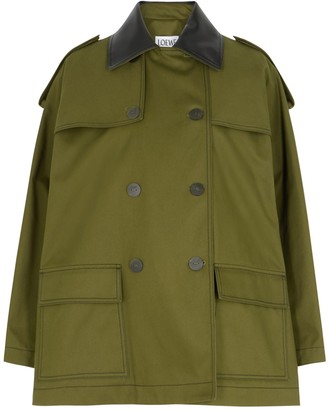 Loewe Army green leather-trimmed twill jacket