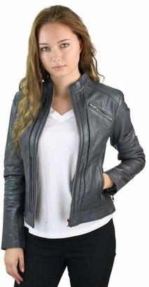 Infinity Leather Ladies Women Real Genuine Leather Biker Slim Fit Jacket Size 8-26 - Grey XL - 16