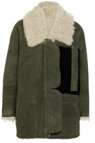 Sandy Liang - Ines Shearling-lined Suede Jacket - Gray green