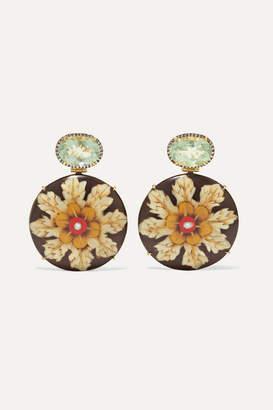 Silvia Furmanovich Marquetry 18-karat Gold, Wood, Diamond And Prasiolite Earrings