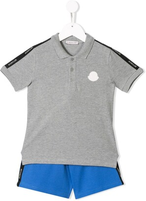 Moncler Enfant Side Panelled Polo Shirt And Shorts Set