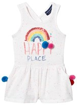 Andy & Evan White Happy Place Rainbow Knit Romper