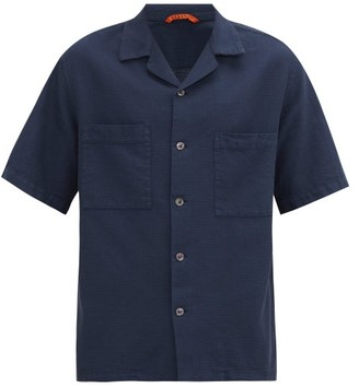 Barena Venezia - Cuban-collar Basketweave-cotton Shirt - Mens - Navy