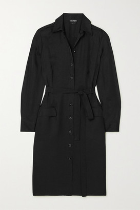 Tom Ford Belted Washed-twill Shirt Dress - Black