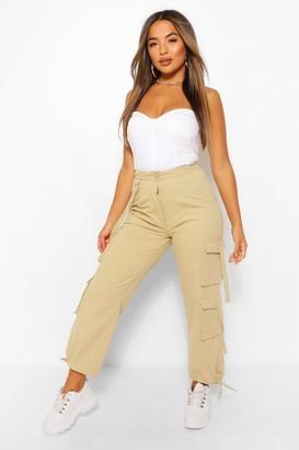 boohoo Petite Cotton Twill Utility Pocket Combat Trouser