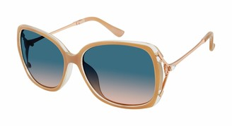 Tahari Women's TH724 Oval-Shaped Metal Vented Sunglasses with Rhinestone & 100% UV Protection 60 mm