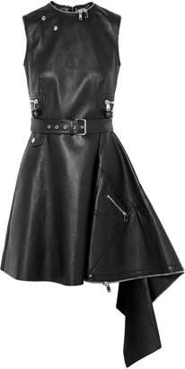 Alexander McQueen Asymmetric Belted Textured-leather Mini Dress