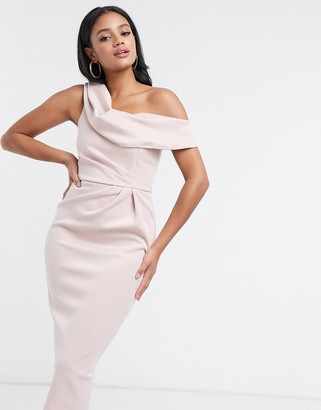 ASOS DESIGN drape fallen shoulder midi pencil dress in soft blush