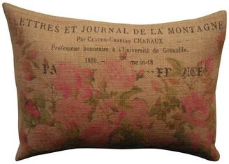 "Polkadot Apple Pillows Vintage Roses Burlap Pillow, 12""x16"""