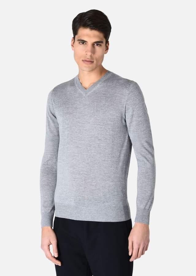 Emporio Armani V-Neck Sweater In Virgin Wool