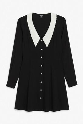 Monki Embroidered collar mini dress
