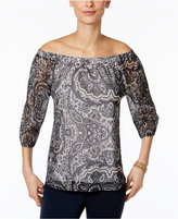 INC International Concepts Printed Off-The-Shoulder Peasant Top, Created for Macy's