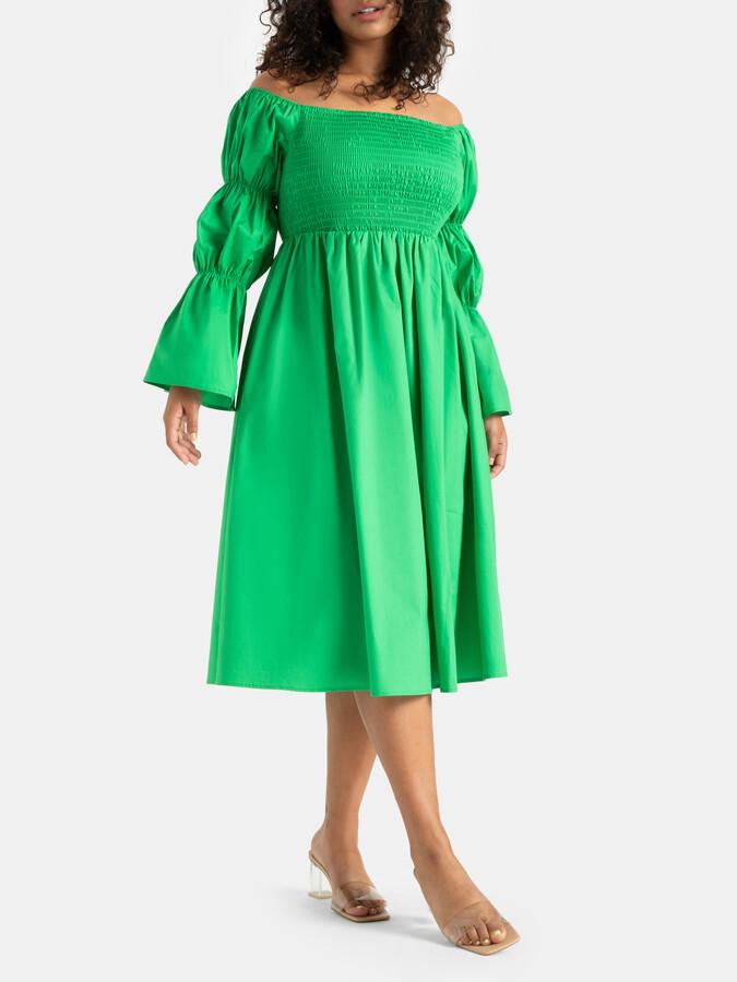 ELOQUII Off The Shoulder Puff Sleeve Dress