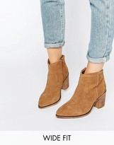 Asos RHODES Wide Fit Suede Western Boots