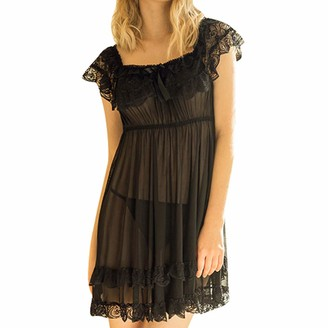 Deloito Femme Lingerie Deloito Women's Short Sleeve Lace Satin Nightdress Pajamas Nightwear Sleepwear (Black L)