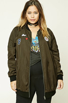 Forever 21 FOREVER 21+ Plus Size Patch Bomber Jacket