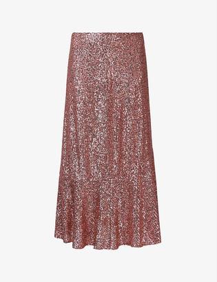 Whistles Suki flared sequinned skirt