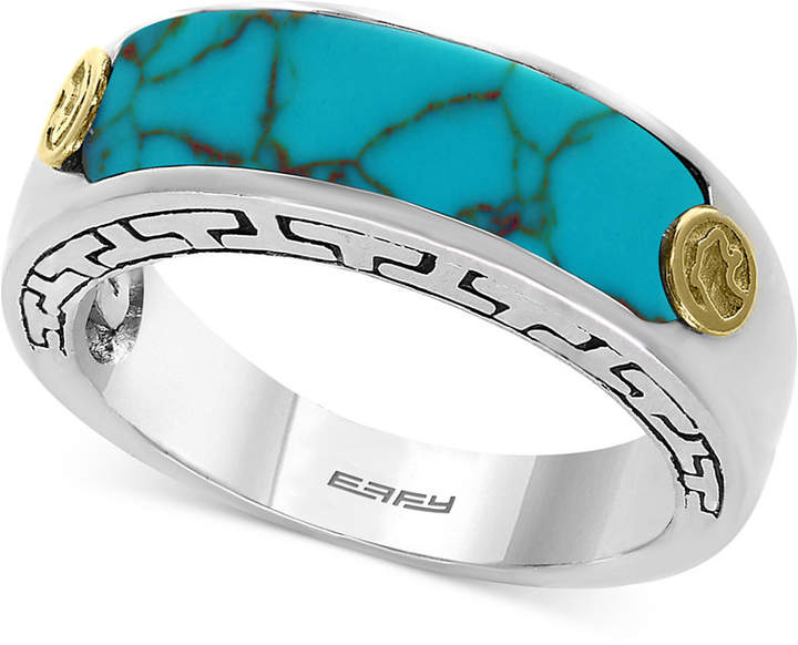 Effy Men's Manufactured Turquoise Ring (20 x 6mm) in Sterling Silver and 18k Gold