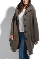 Everest Taupe Wool-Blend Hooded Pea Coat