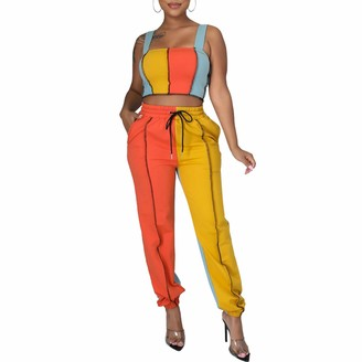 Koitniecer Women Sexy 2 Piece Outfits Sets Square Neck Crop Tank Top High Waist Drawstring Jogger Pant Patchwork Sweatsuit (Blue XL)
