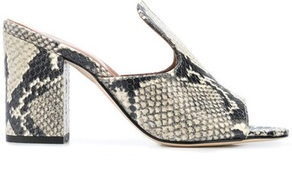Paris Texas Snakeskin Effect Block-Heel Mules