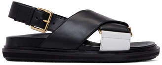 Marni Black and White Colorblock Slingback Sandals