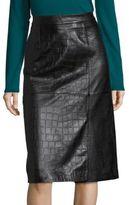 BOSS Seminca Croc-Embossed Leather Skirt