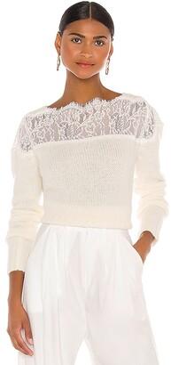 RAISSA Lace Shoulder Sweater