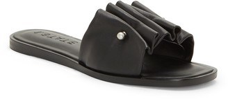 1 STATE Fann Ruched Leather Slide Sandal