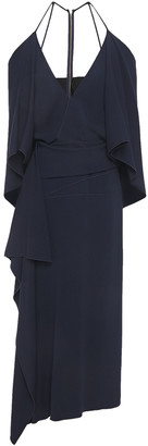 Roland Mouret Vincent Cold-shoulder Draped Cady Midi Dress