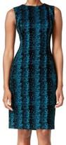 Calvin Klein Blue Teal Snake-Print Women's Size 2 Sheath Dress