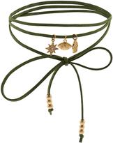 Accessorize Faux Suede Wrap Charm Choker Necklace