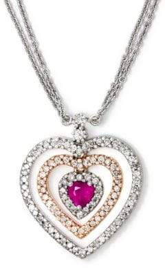 Effy 14 Kt. White and Yellow Gold Ruby and Diamond Necklace .49CTW