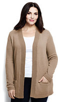 Lands' End Womens Plus Size Lofty Textured Open Cardigan Sweater-Black/White Canvas