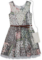 Knitworks Knit Works Printed Lace Dress with Belt and Purse - Girls' 7-16