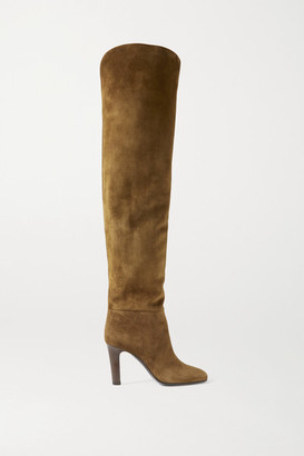 Saint Laurent Blu Suede Over-the-knee Boots - Brown
