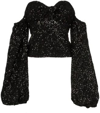 ATTICO Sequin Puff-Sleeve Top