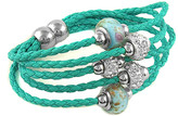 Swarovski Yeidid International Women's Bracelets Turquoise - Teal Leather Beaded Bracelet With Crystals