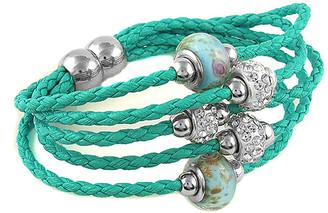 Swarovski Yeidid International Women's Bracelets Turquoise - Teal Leather Beaded Bracelet With Crystals