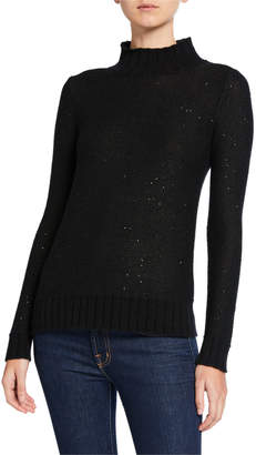 Neiman Marcus Sequin Cashmere Ribbed Turtleneck Sweater