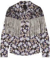 Anna Sui Oops A Daisy Fringed Lace-paneled Printed Silk-blend Jacquard Blouse - Black