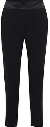 Mason by Michelle Mason Satin-trimmed Stretch-cady Slim-leg Pants